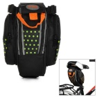 B-SOUL Bike Bicycle Zippered Polyester Saddle Seat Tail Bag w/ Reflective Strip - Black + Green
