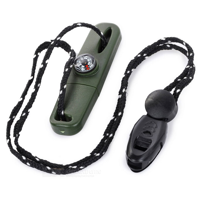Multi-Function Survival Flintstone w/ Compass & Whistle - Army Green