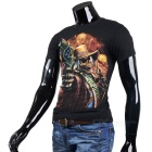Cool Gun & Skull Pattern Round-Neck Short-Sleeve Cotton T-Shirt Top - Black (M)