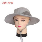 Unisex Sun Blocking UV Care Outdoor Hiking Fishing Hat Cap - Light Gray