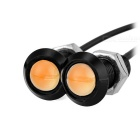 18mm 2W Yellow 2-COB LED Car Eagle Eyes Steering Light - Black (2PCS)