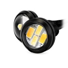 Universal 2W 23mm 30lm 4-SMD 5630 White + Yellow Car Lamp (12V / 2PCS)