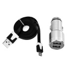 Cargador doble USB 3.1A w / martillo + micro cable USB - plata