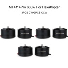 MT4114Pro 680KV CW & CCW Brushless Motors Set for Multirotor HexaCopter - Black