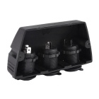 12~24V Waterproof Motorcycle Cigarette Lighter 3 Ports Sockets - Black
