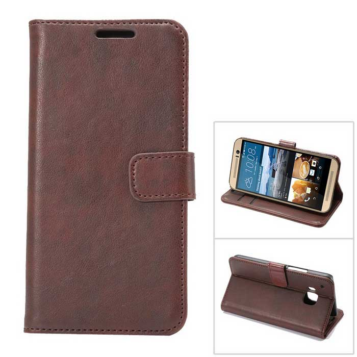 MO.MAT Luxury PU Wallet Case w/ Card Slot / Stand for HTC M9 - Coffee