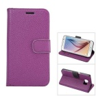 MO.MAT Luxury PU Leather Wallet Case for Samsung Galaxy S6 - Purple