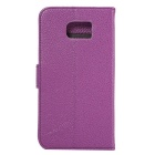 Luxury PU Leather Wallet Case for Samsung Galaxy S6 - Purple