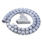PE Cable Wire Spiral Tidy Wrap w/ Clip Organizer - Silvery Grey (250cm)