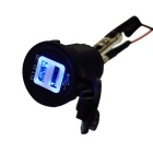 DIY Water Resistant 5V 3.1A 4-Port USB Car Charger Blue Light - Black