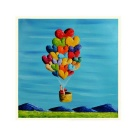 Hot Air Balloons Hand Painted Oil Painting - Blue + Red + Multi-Color