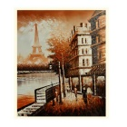 Paris Landscape Hand Painted Oil Painting - Brown