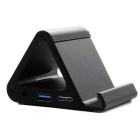 Super Speed 5Gbps 4-Port USB 3.0 Hub w/ Phone Holder - Black
