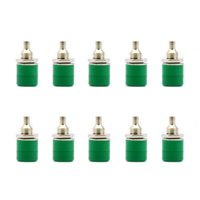 Jtron Nickel Plated Female Banana Socket Jack for 4mm Banana Plug Test Cable - Green (10 PCS)