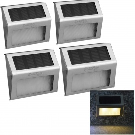 YouOKLight 0.4W Warm White LED Solar Powered Wall Lamp - Silver (4PCS)
