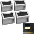 Youoklight 0.4W 2-LED lámparas de pared accionadas por energía solar blanco caliente 3500K 30lm - plata (1.2V / 4 PC)