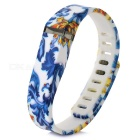 Replacement Blue & White Porcelain Style Large Sports TPE + TPU Wrist Band w/ Clasp for Fitbit Flex