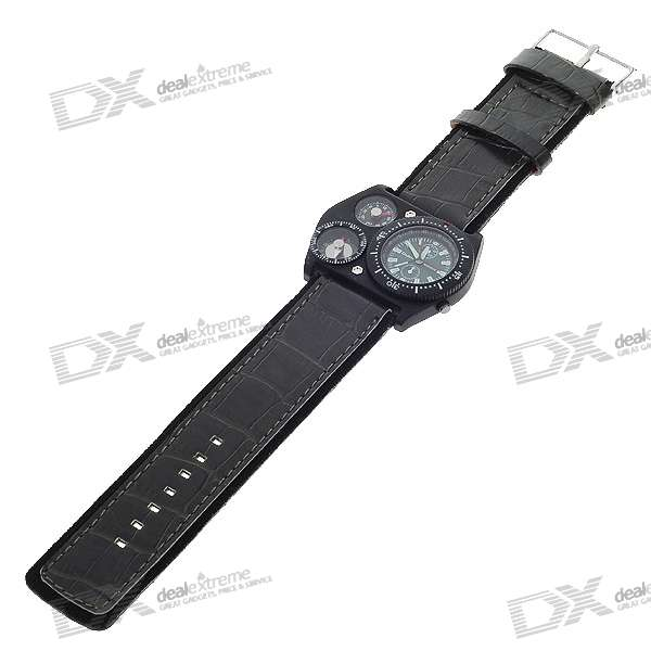 Military Style Mens Wrist Watch with Compass + Thermometer Decoration - Green (1*622)