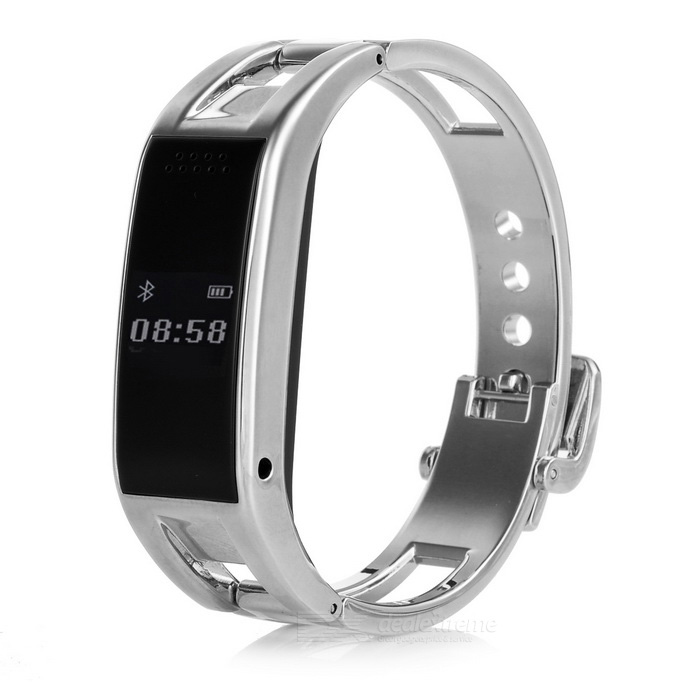 "D8 0.49"" OLED Bluetooth Smart Wrist Watch w/ Pedometer - Bright Silver"
