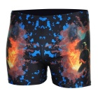 Men's Printing Dacron + Spandex + Lycra Boxers Swimming Trunks - Black + Multi-Colored