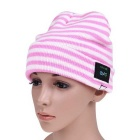 MZ015 Wireless Music Bluetooth V3.0 Smart Warm Knitted Hat w/ Hand-free Calls - Pink + White