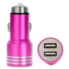 Dual USB 3.1A Car Charger w/ Hammer + Micro USB Charging Cable - Deep Pink + Silver
