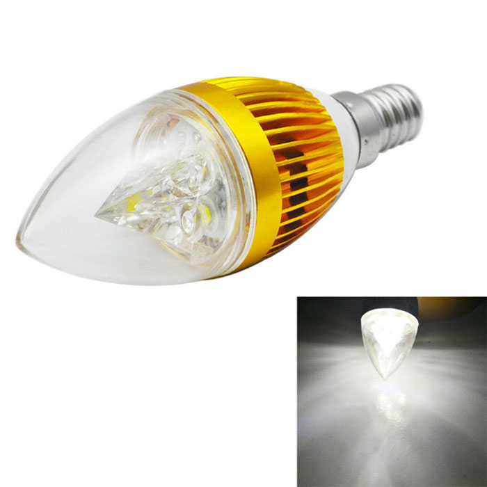 JIAWEN E14 3W 3-LED Dimmable Bulb Light Cold White 300lm - Golden