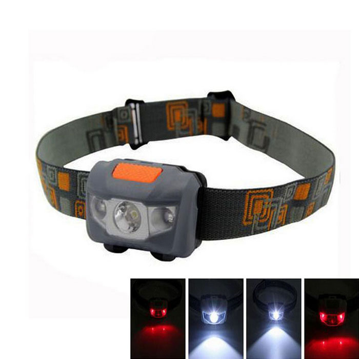 280lm White + Red LED 4-Mode Outdoor Sports Cycling Headlight - Grey