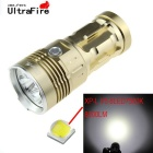 UltraFire 750lm 8-LED Cool White 3-Mode Flashlight Torch - Golden (4 x 18650)