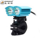ZHISHUNJIA XM-L T6 2-LED 2000lm 4-Mode White Bicycle Light Headlamp Headlight - Blue (4 x 18650)