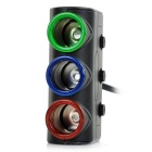 Dual USB 3-Socket 5V Car Cigarette Lighter w/ Switch - Black