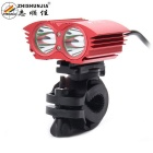 ZHISHUNJIA XM-L T6 2-LED 2000lm 4-Mode White Bicycle Light Headlamp Headlight - Red (4 x 18650)