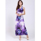 Bohemian Style Women's Ice Silk V-Neck Halter Long Dress - Purple (L)