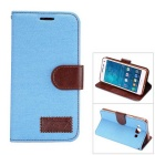 MO.MAT Denim + PU Protective Wallet Case w/ Stand & Card Slot for Samsung Galaxy A5 - Light Blue