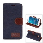 MO.MAT Denim + PU Protective Wallet Case w/ Stand & Card Slot for Samsung Galaxy A5 - Black