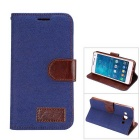MO.MAT Denim + PU Protective Wallet Case w/ Stand & Card Slot for Samsung Galaxy A5 - Deep Blue