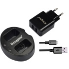 Kingma Dual USB Charger + EU Plug Kit for Sony NP-FW50, Sony Alpha 7, A7, 7S, A6000, NEX-3, NEX-5