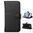 Embossed PU Leather Case w/ Card Slots for Samsung S6 Edge - Black