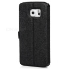 Dual Visual Windows Magnetic Buckle Case for Samsung S6 Edge - Black