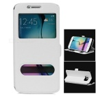 Visual Windows Magnetic Buckle Leather Case for Samsung S6 Edge - White