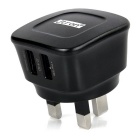 Jtron Universal Dual USB UK Plug Power Charger for Android / IOS Mobile Phones / Tablet PCs - Black