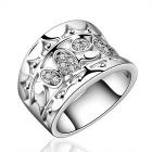 Women's Stylish Rhinestone Studded Zircon Inlaid Silver-Plated Brass Ring - Silver (US Size 8)