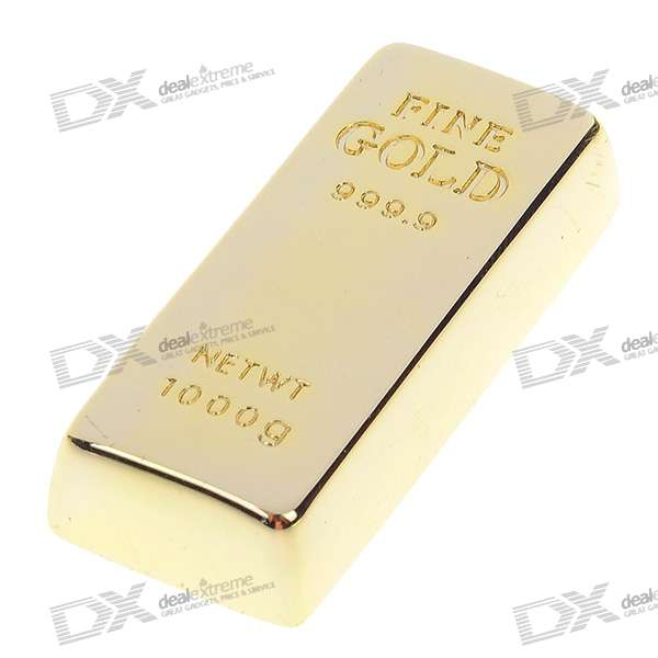 Gold Bullion Bar Shaped USB 2.0 Flash/Jump Drive (2GB)