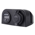 Motorcycle 12V/24V Cigarette Lighter Socket w/ LED Digital Voltmeter - Black