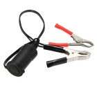 Water Resistant 12V Motorcycle Car Cigarette Lighter Socket w/ Crocodile Clips - Black + Red