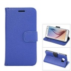 MO.MAT Luxury PU Leather Wallet Case w/ Stand / Card Slots for Samsung Galaxy S6 - Blue