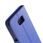 PU Wallet Case w/ Stand, Card Slots for Samsung S6 - Blue