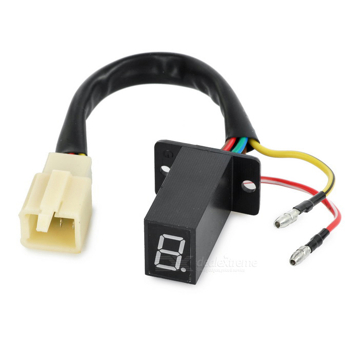 DIY Green Light LED Digital Display Indicator for Motorcycle - Black