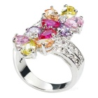 Women's Stylish Flower Design Zircon Inlaid Silver-Plated Ring - Silver + Multi-Color (US Size: 7)