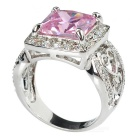 Women's Stylish Rhinestones Decorated Zircon Ring - Pink + Silver (US Size 7)